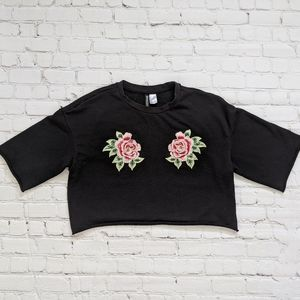 Divided Black Embroidered Rose Sweatshirt